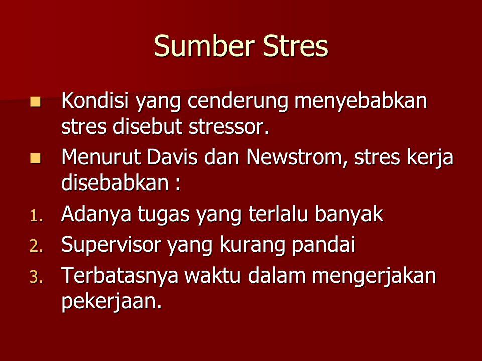 Sumber Stres Kondisi yang cenderung menyebabkan stres disebut stressor. Kondisi yang cenderung menyebabkan stres disebut stressor. Menurut Davis dan N