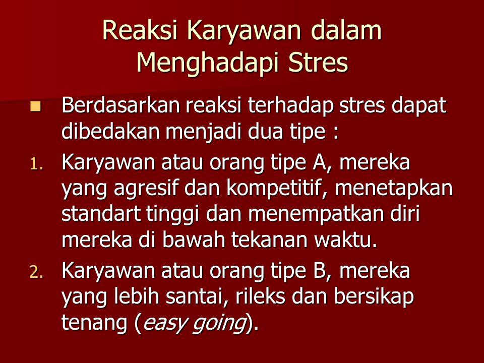 Reaksi Karyawan dalam Menghadapi Stres Berdasarkan reaksi terhadap stres dapat dibedakan menjadi dua tipe : Berdasarkan reaksi terhadap stres dapat di