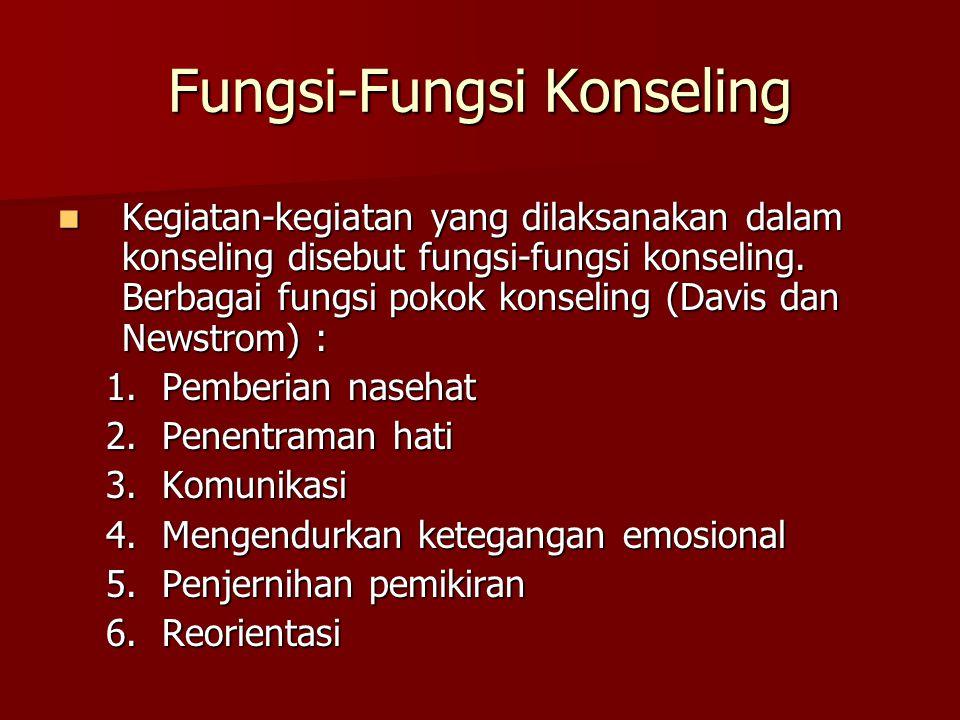 Fungsi-Fungsi Konseling Kegiatan-kegiatan yang dilaksanakan dalam konseling disebut fungsi-fungsi konseling. Berbagai fungsi pokok konseling (Davis da