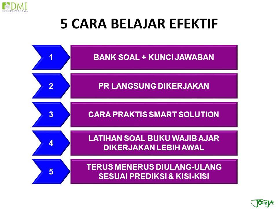 5 CARA BELAJAR EFEKTIF BANK SOAL + KUNCI JAWABAN PR LANGSUNG DIKERJAKAN CARA PRAKTIS SMART SOLUTION 1 2 3 LATIHAN SOAL BUKU WAJIB AJAR DIKERJAKAN LEBI