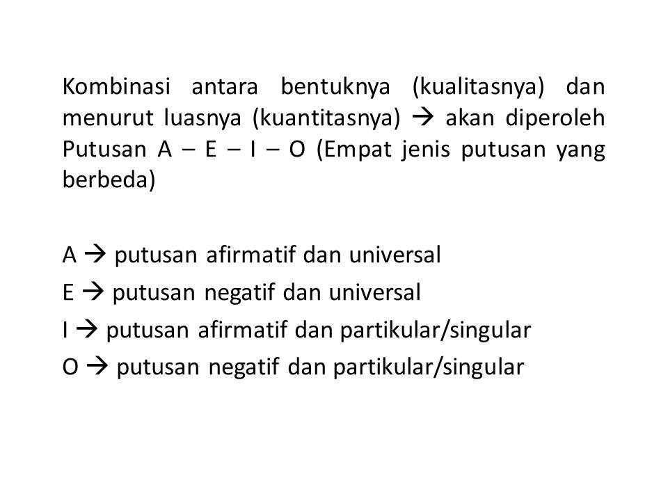 Kombinasi antara bentuknya (kualitasnya) dan menurut luasnya (kuantitasnya)  akan diperoleh Putusan A – E – I – O (Empat jenis putusan yang berbeda)