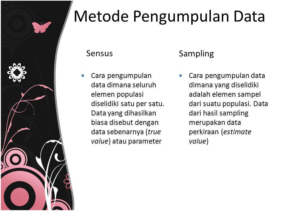 Metode Pengumpulan Data Sensus Sampling  Cara pengumpulan data dimana seluruh elemen populasi diselidiki satu per satu. Data yang dihasilkan biasa di