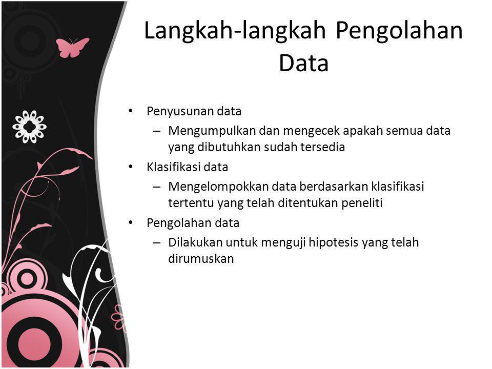 Penyusunan data – Mengumpulkan dan mengecek apakah semua data yang dibutuhkan sudah tersedia Klasifikasi data – Mengelompokkan data berdasarkan klasif