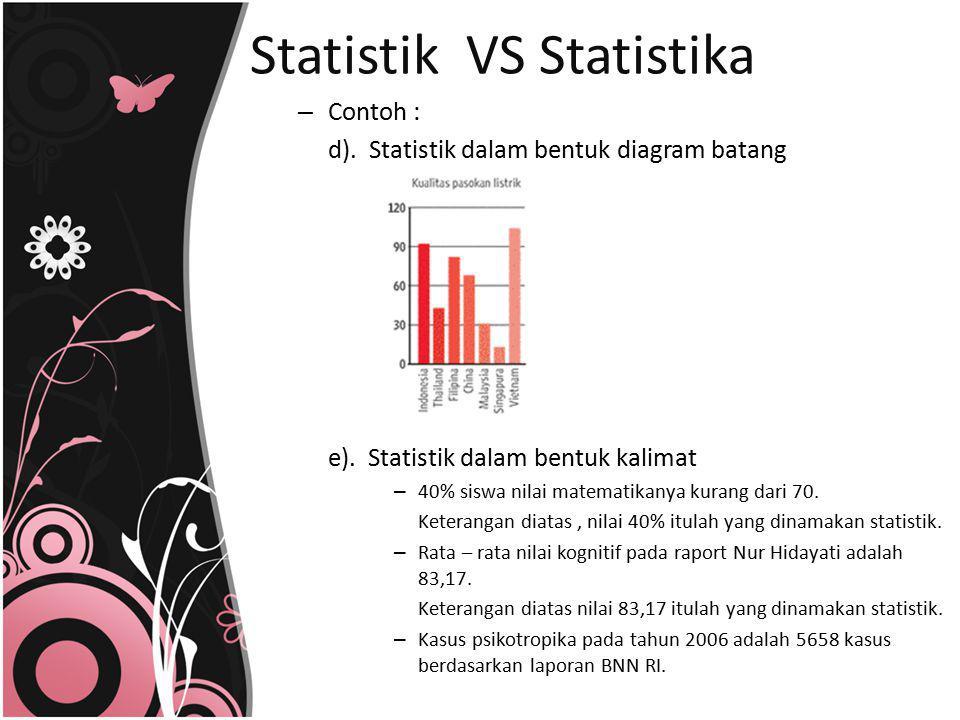 – Contoh : d). Statistik dalam bentuk diagram batang e). Statistik dalam bentuk kalimat – 40% siswa nilai matematikanya kurang dari 70. Keterangan dia
