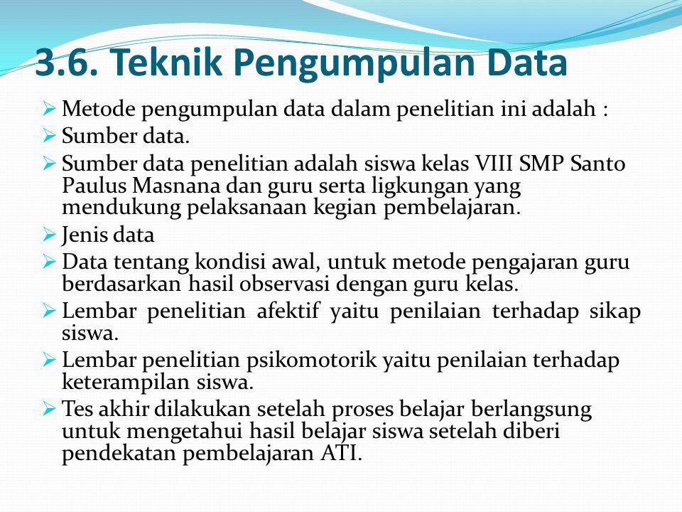 3.6. Teknik Pengumpulan Data  Metode pengumpulan data dalam penelitian ini adalah :  Sumber data.  Sumber data penelitian adalah siswa kelas VIII S