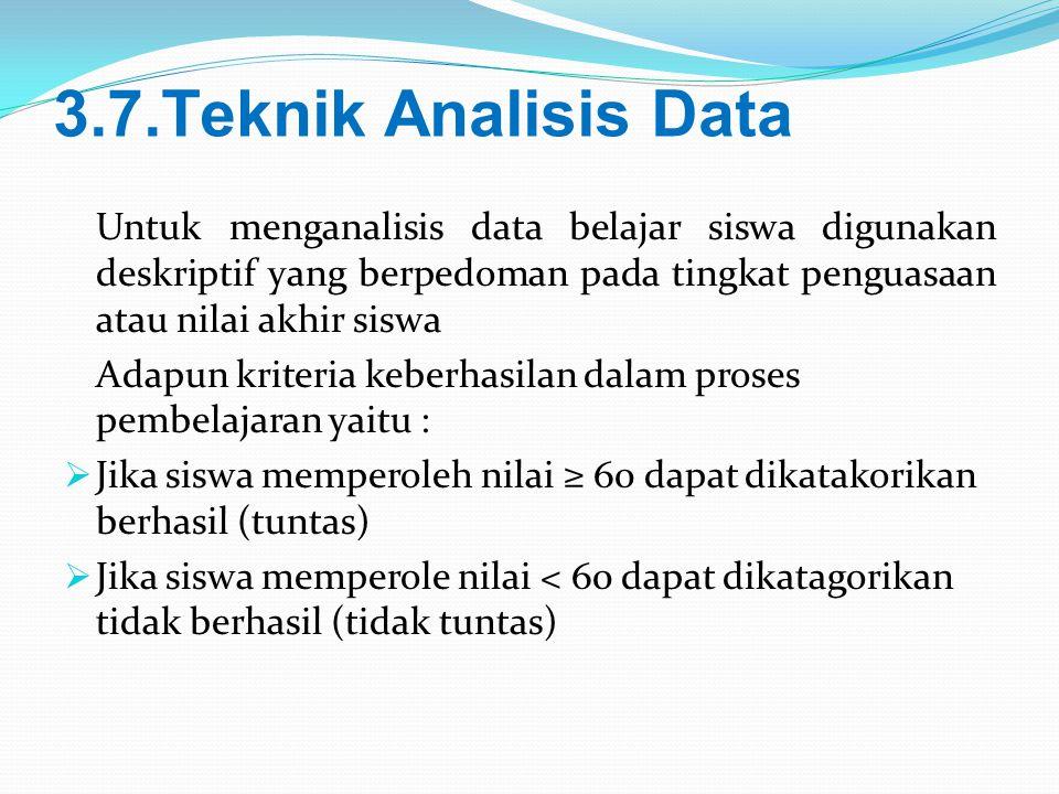 3.7.Teknik Analisis Data Untuk menganalisis data belajar siswa digunakan deskriptif yang berpedoman pada tingkat penguasaan atau nilai akhir siswa Ada