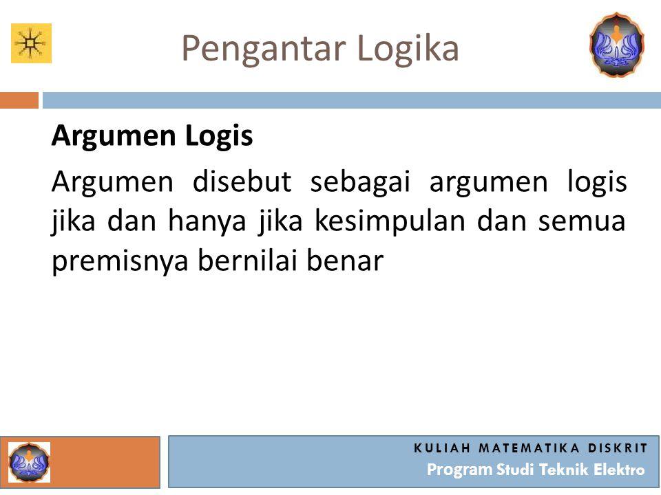 Pengantar Logika Argumen Logis Argumen disebut sebagai argumen logis jika dan hanya jika kesimpulan dan semua premisnya bernilai benar KULIAH MATEMATI