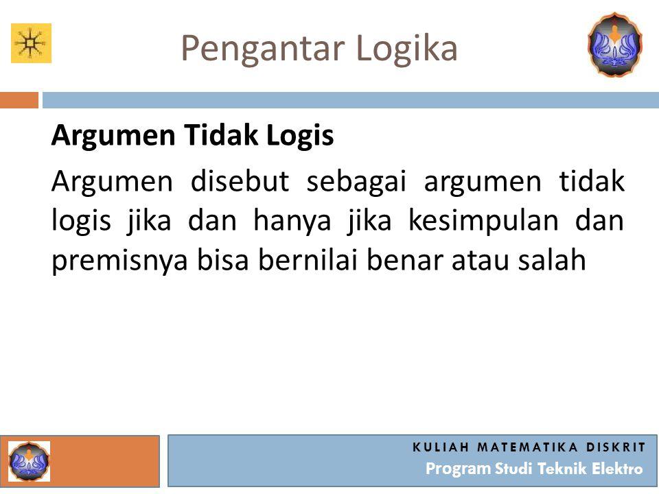 Pengantar Logika Argumen Tidak Logis Argumen disebut sebagai argumen tidak logis jika dan hanya jika kesimpulan dan premisnya bisa bernilai benar atau
