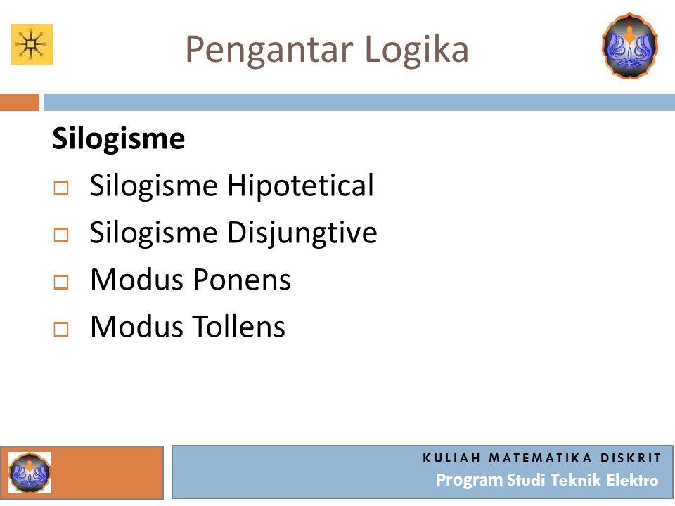 Pengantar Logika Silogisme  Silogisme Hipotetical  Silogisme Disjungtive  Modus Ponens  Modus Tollens KULIAH MATEMATIKA DISKRIT Program Studi Tekn