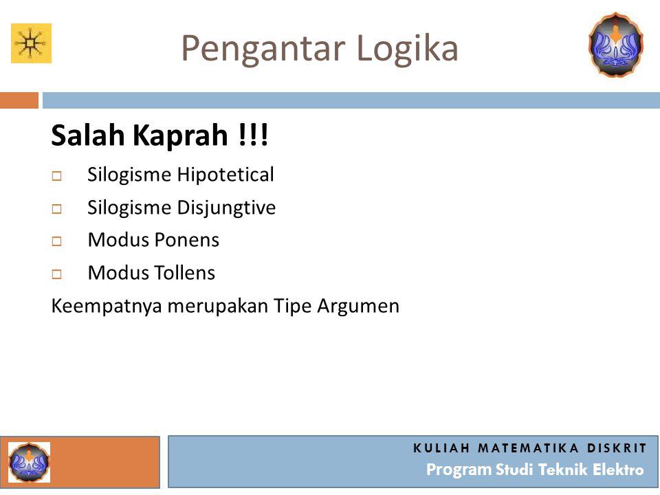 Pengantar Logika Salah Kaprah !!!  Silogisme Hipotetical  Silogisme Disjungtive  Modus Ponens  Modus Tollens Keempatnya merupakan Tipe Argumen KUL