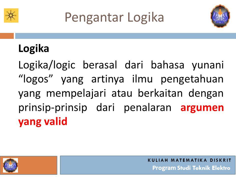 """Pengantar Logika Logika Logika/logic berasal dari bahasa yunani """"logos"""" yang artinya ilmu pengetahuan yang mempelajari atau berkaitan dengan prinsip-p"""