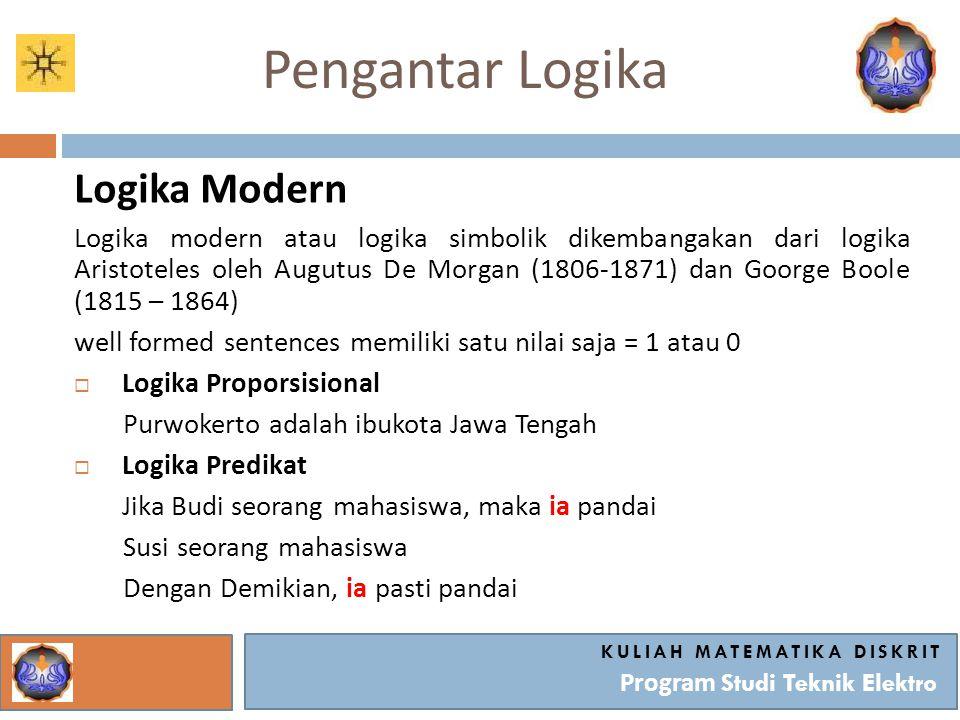 Pengantar Logika Logika Modern Logika modern atau logika simbolik dikembangakan dari logika Aristoteles oleh Augutus De Morgan (1806-1871) dan Goorge