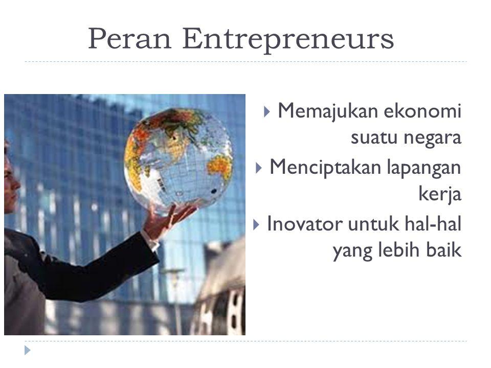 Peran Entrepreneurs  Memajukan ekonomi suatu negara  Menciptakan lapangan kerja  Inovator untuk hal-hal yang lebih baik