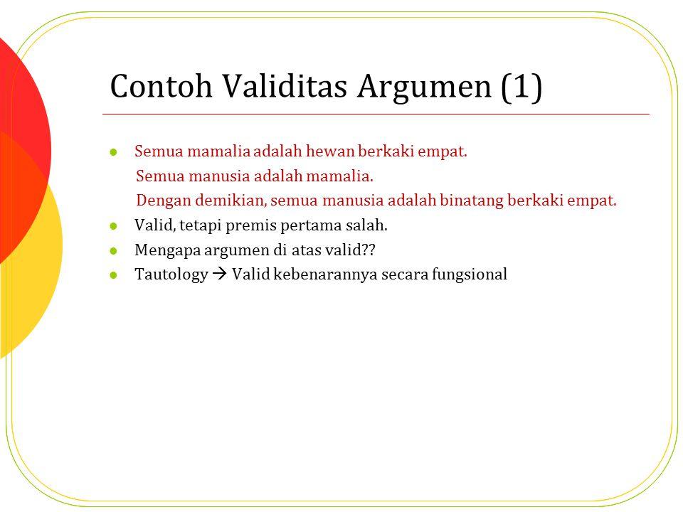 Contoh Validitas Argumen (1) Semua mamalia adalah hewan berkaki empat. Semua manusia adalah mamalia. Dengan demikian, semua manusia adalah binatang be