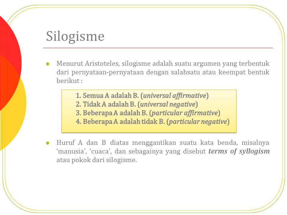 Silogisme Menurut Aristoteles, silogisme adalah suatu argumen yang terbentuk dari pernyataan-pernyataan dengan salahsatu atau keempat bentuk berikut : Huruf A dan B diatas menggantikan suatu kata benda, misalnya 'manusia', 'cuaca', dan sebagainya yang disebut terms of syllogism atau pokok dari silogisme.