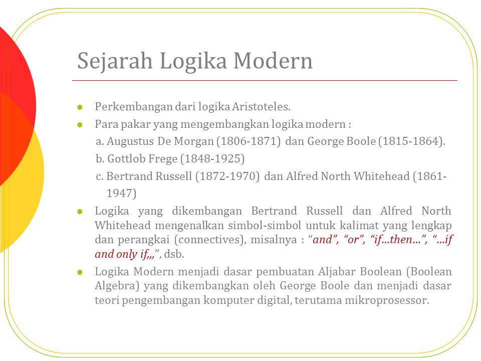 Sejarah Logika Modern Perkembangan dari logika Aristoteles. Para pakar yang mengembangkan logika modern : a. Augustus De Morgan (1806-1871) dan George