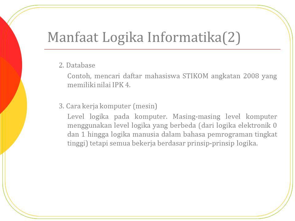 Manfaat Logika Informatika(2) 2. Database Contoh, mencari daftar mahasiswa STIKOM angkatan 2008 yang memiliki nilai IPK 4. 3. Cara kerja komputer (mes