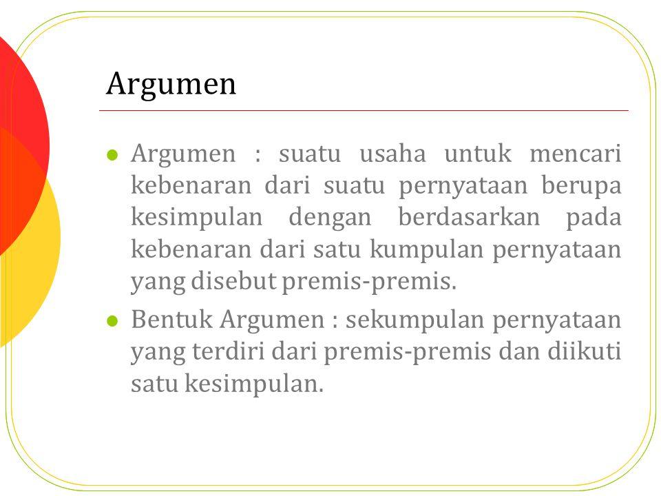 Argumen Argumen : suatu usaha untuk mencari kebenaran dari suatu pernyataan berupa kesimpulan dengan berdasarkan pada kebenaran dari satu kumpulan pernyataan yang disebut premis-premis.