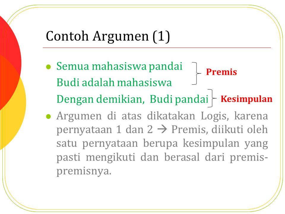 Contoh Argumen (1) Semua mahasiswa pandai Budi adalah mahasiswa Dengan demikian, Budi pandai. Argumen di atas dikatakan Logis, karena pernyataan 1 dan
