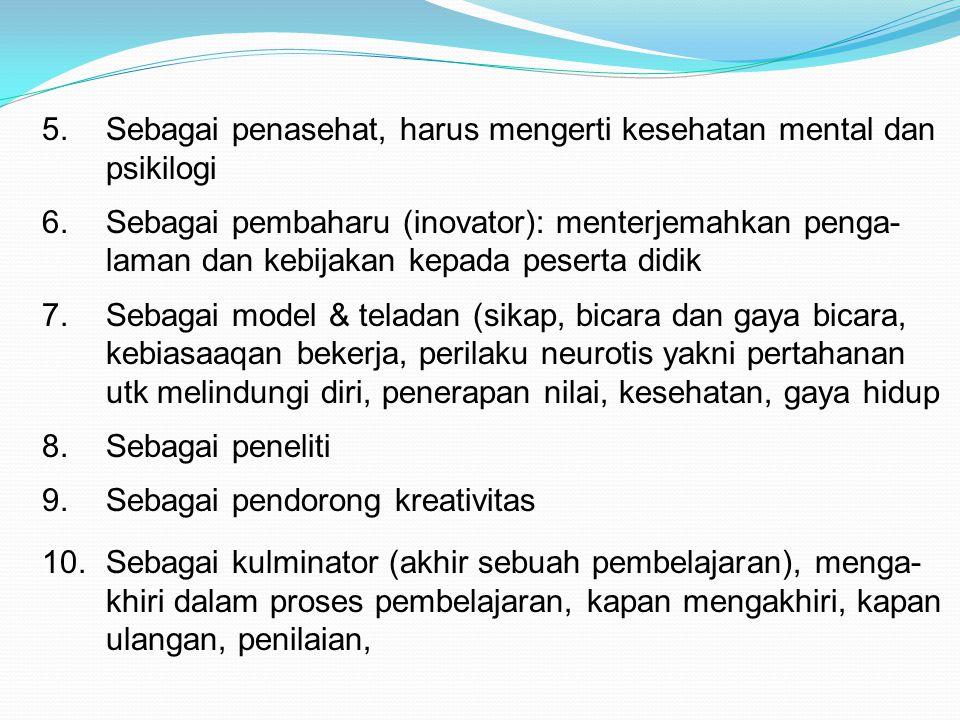 5.Sebagai penasehat, harus mengerti kesehatan mental dan psikilogi 6.Sebagai pembaharu (inovator): menterjemahkan penga- laman dan kebijakan kepada pe