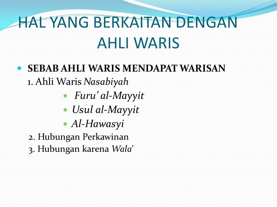 HAL YANG BERKAITAN DENGAN AHLI WARIS SEBAB AHLI WARIS MENDAPAT WARISAN 1. Ahli Waris Nasabiyah Furu' al-Mayyit Usul al-Mayyit Al-Hawasyi 2. Hubungan P