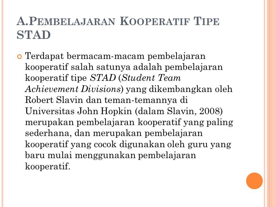 A.P EMBELAJARAN K OOPERATIF T IPE STAD Terdapat bermacam-macam pembelajaran kooperatif salah satunya adalah pembelajaran kooperatif tipe STAD ( Studen