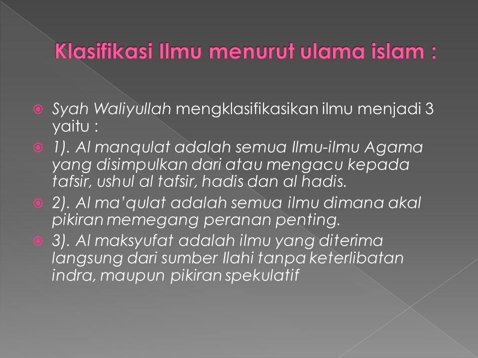  Sementara itu Al Ghazali di dalam Kitabnya Ihya Ulumudin mengklasifikasikan Ilmu dalam dua kelompok yaitu 1).
