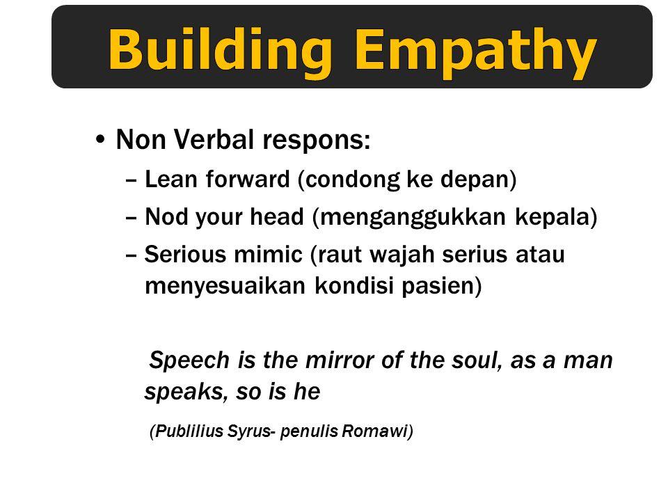 The Basic Formula Jadi anda/bapak/ibu merasa …(nama emosi yang dirasakan pasien mis : sedih,khawatir dll) karena…(meng-indikasikan pengalaman yang men