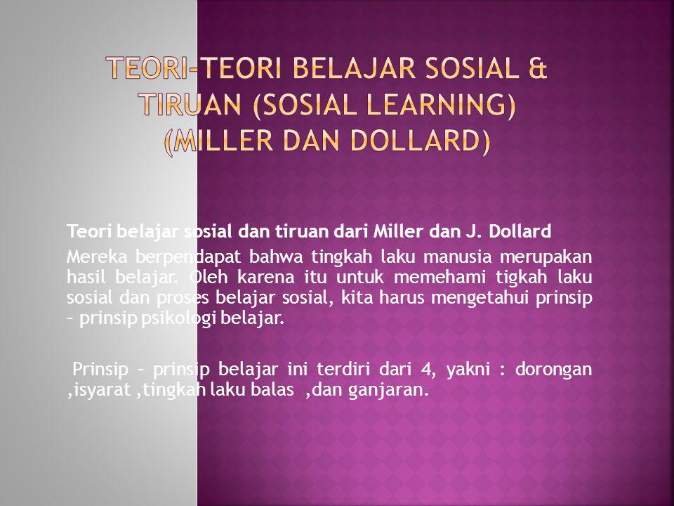 Teori belajar sosial dan tiruan dari Miller dan J. Dollard Mereka berpendapat bahwa tingkah laku manusia merupakan hasil belajar. Oleh karena itu untu