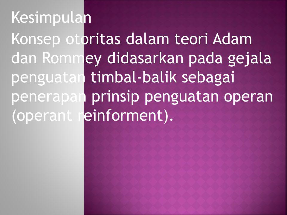 Kesimpulan Konsep otoritas dalam teori Adam dan Rommey didasarkan pada gejala penguatan timbal-balik sebagai penerapan prinsip penguatan operan (opera