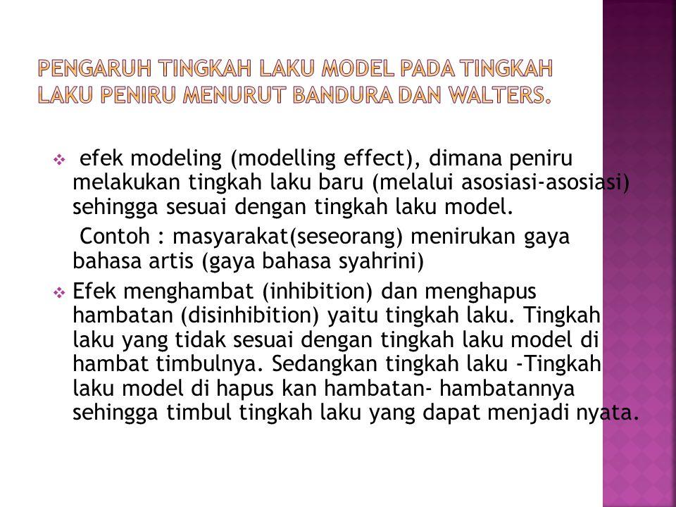  efek modeling (modelling effect), dimana peniru melakukan tingkah laku baru (melalui asosiasi-asosiasi) sehingga sesuai dengan tingkah laku model. C