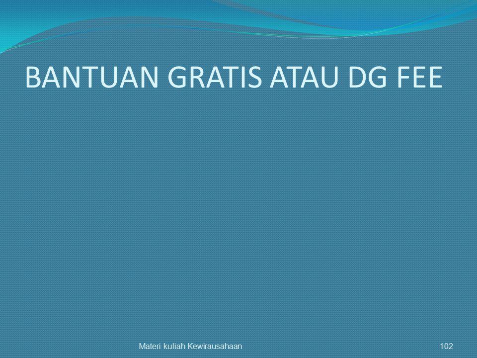 BANTUAN GRATIS ATAU DG FEE Materi kuliah Kewirausahaan102