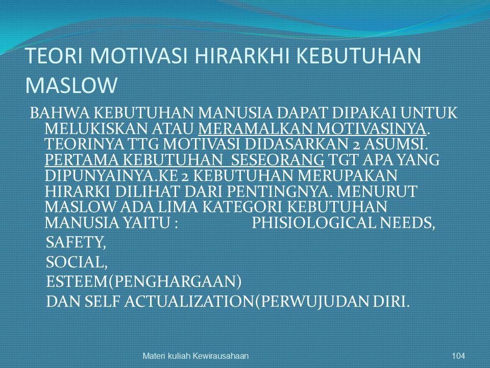 TEORI MOTIVASI HIRARKHI KEBUTUHAN MASLOW BAHWA KEBUTUHAN MANUSIA DAPAT DIPAKAI UNTUK MELUKISKAN ATAU MERAMALKAN MOTIVASINYA. TEORINYA TTG MOTIVASI DID