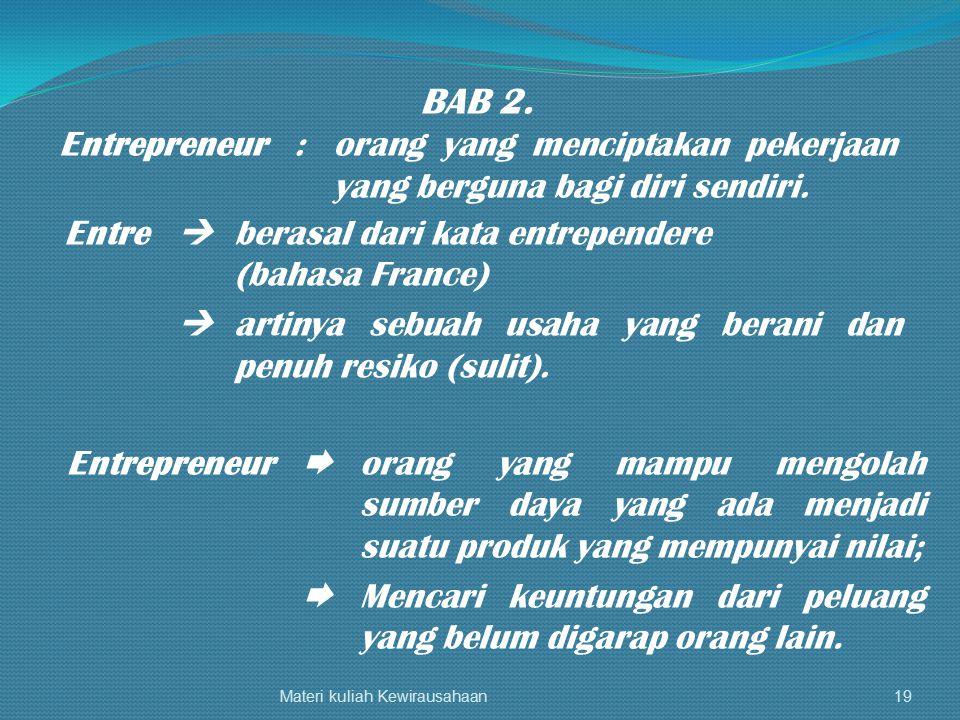 Materi kuliah Kewirausahaan19 BAB 2. Entrepreneur:orang yang menciptakan pekerjaan yang berguna bagi diri sendiri. Entre  berasal dari kata entrepend