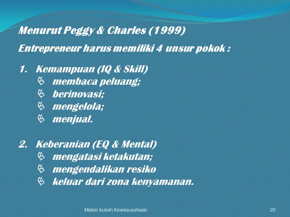 Materi kuliah Kewirausahaan20 Menurut Peggy & Charles (1999) Entrepreneur harus memiliki 4 unsur pokok : 1.Kemampuan (IQ & Skill)  membaca peluang; 