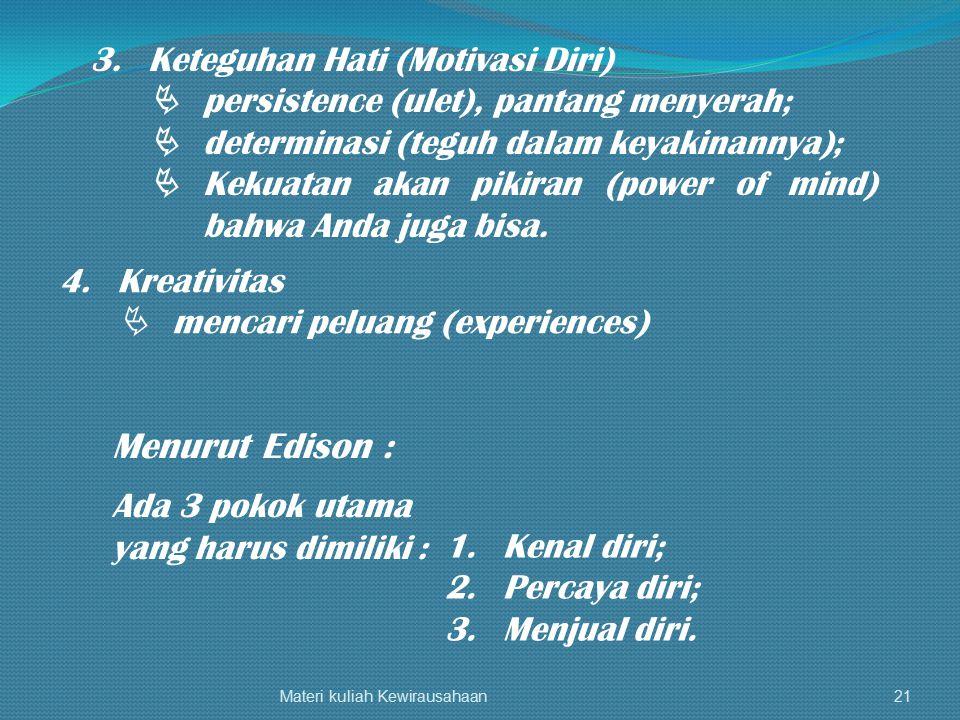 Materi kuliah Kewirausahaan21 3.Keteguhan Hati (Motivasi Diri)  persistence (ulet), pantang menyerah;  determinasi (teguh dalam keyakinannya);  Kek
