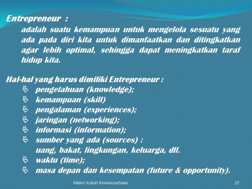 Materi kuliah Kewirausahaan22 Entrepreneur : adalah suatu kemampuan untuk mengelola sesuatu yang ada pada diri kita untuk dimanfaatkan dan ditingkatka