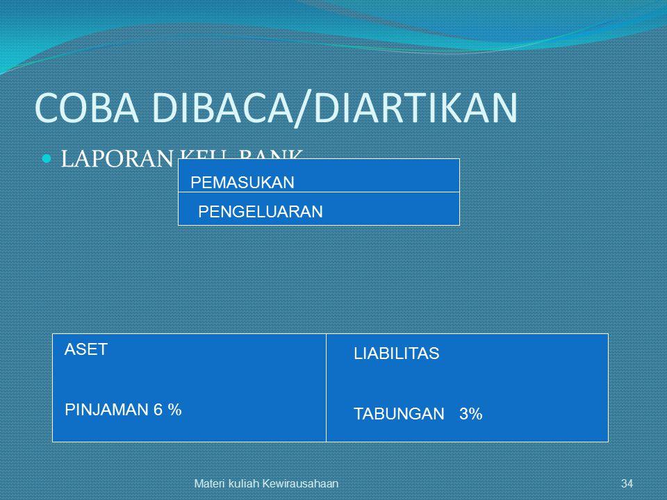 COBA DIBACA/DIARTIKAN LAPORAN KEU. BANK Materi kuliah Kewirausahaan34 PEMASUKAN PENGELUARAN ASET PINJAMAN 6 % LIABILITAS TABUNGAN 3%