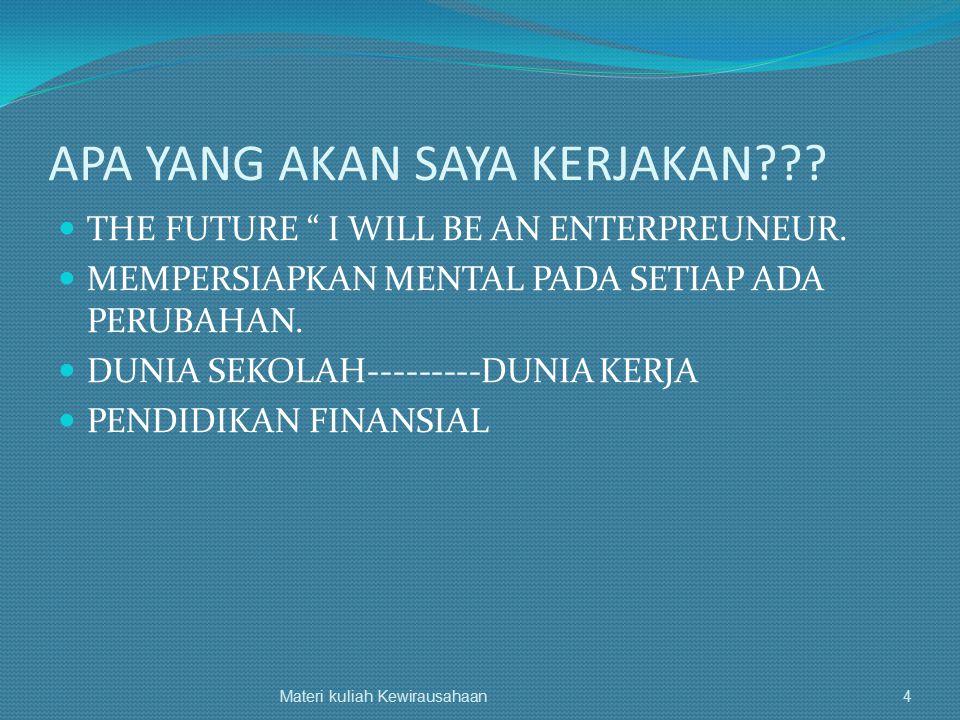 Menurut Fadel Muhammad, 1992 Kepemimpinan Inovasi Pengambilan keputusan Sikap tanggap thd perubahan Bekerja ekonomis dan efisien Visi masa depan Sikap thd resiko Materi kuliah Kewirausahaan45
