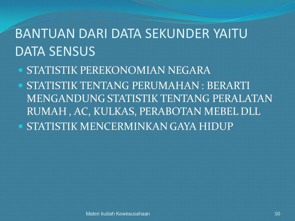 BANTUAN DARI DATA SEKUNDER YAITU DATA SENSUS STATISTIK PEREKONOMIAN NEGARA STATISTIK TENTANG PERUMAHAN : BERARTI MENGANDUNG STATISTIK TENTANG PERALATA