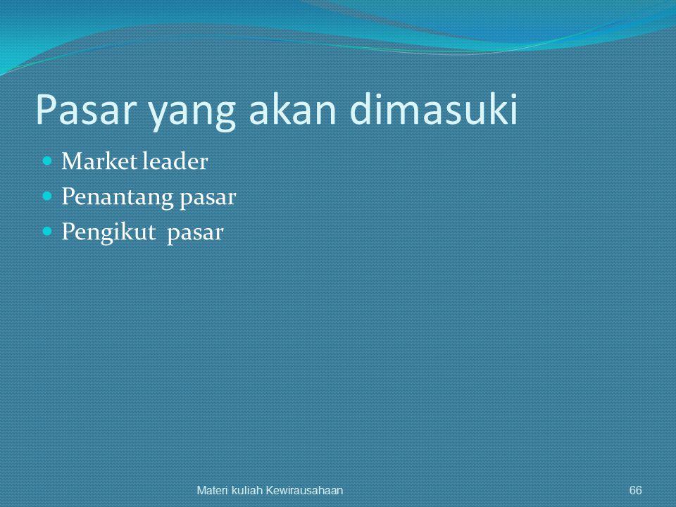 Pasar yang akan dimasuki Market leader Penantang pasar Pengikut pasar Materi kuliah Kewirausahaan66