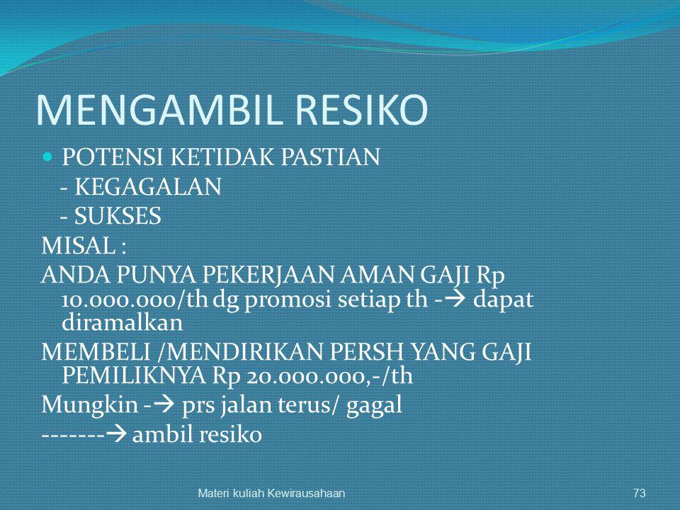 MENGAMBIL RESIKO POTENSI KETIDAK PASTIAN - KEGAGALAN - SUKSES MISAL : ANDA PUNYA PEKERJAAN AMAN GAJI Rp 10.000.000/th dg promosi setiap th -  dapat d
