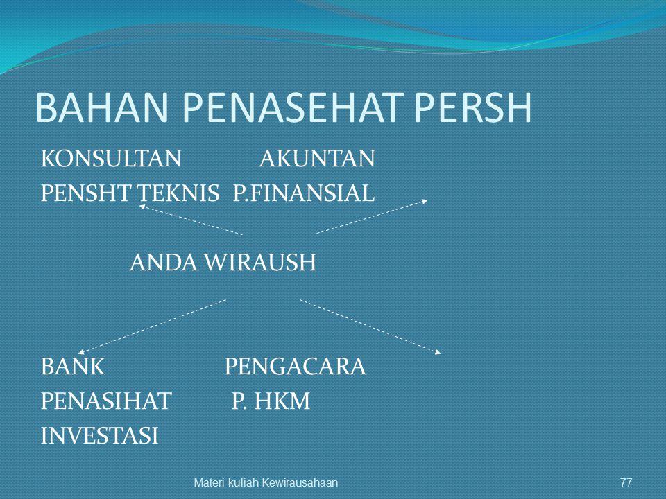 BAHAN PENASEHAT PERSH KONSULTAN AKUNTAN PENSHT TEKNIS P.FINANSIAL ANDA WIRAUSH BANK PENGACARA PENASIHAT P. HKM INVESTASI Materi kuliah Kewirausahaan77
