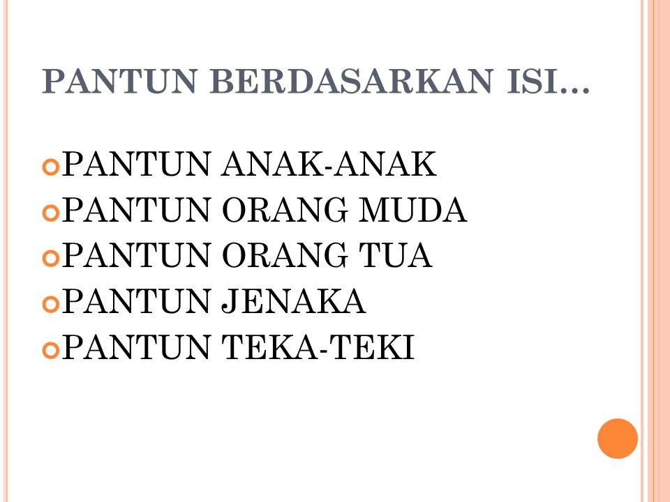 1 bait: 4 larik 1 larik: 4 Kata 1 baris: 8 – 12 suku kata 1 Larik : 2 Irama, dan Larik 1 dan 2: Sampiran Larik 3 dan 4: Isi Rumus rima akhir: a b a b Isi: nasihat, sindiran Dapat dilagukan Asli Indonesia CIRI-CIRI PANTUN SECARA UMUM