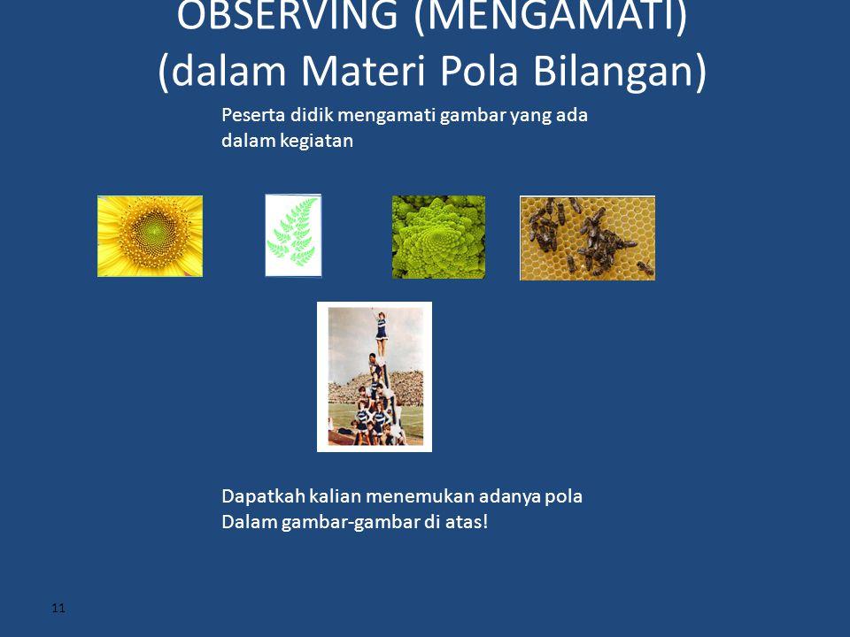 OBSERVING (MENGAMATI) (dalam Materi Pola Bilangan) 11 Peserta didik mengamati gambar yang ada dalam kegiatan Dapatkah kalian menemukan adanya pola Dal