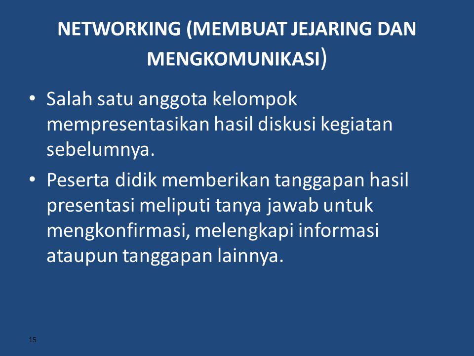 NETWORKING (MEMBUAT JEJARING DAN MENGKOMUNIKASI ) Salah satu anggota kelompok mempresentasikan hasil diskusi kegiatan sebelumnya. Peserta didik member