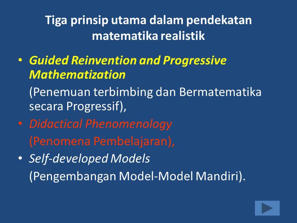Tiga prinsip utama dalam pendekatan matematika realistik Guided Reinvention and Progressive Mathematization (Penemuan terbimbing dan Bermatematika sec