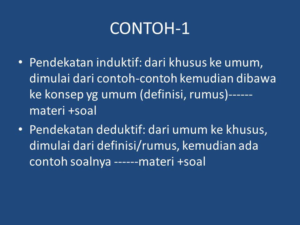 CONTOH-1 Pendekatan induktif: dari khusus ke umum, dimulai dari contoh-contoh kemudian dibawa ke konsep yg umum (definisi, rumus)------ materi +soal P
