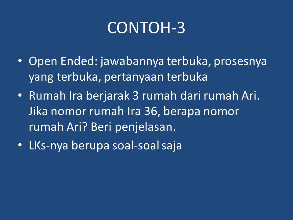 CONTOH-3 Open Ended: jawabannya terbuka, prosesnya yang terbuka, pertanyaan terbuka Rumah Ira berjarak 3 rumah dari rumah Ari. Jika nomor rumah Ira 36