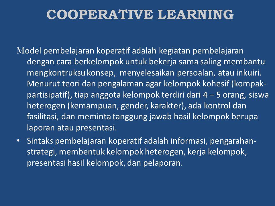 M odel pembelajaran koperatif adalah kegiatan pembelajaran dengan cara berkelompok untuk bekerja sama saling membantu mengkontruksu konsep, menyelesai
